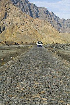 Cobblestone road in the volcanic caldera, Fogo (Fire), Cape Verde Islands, Africa