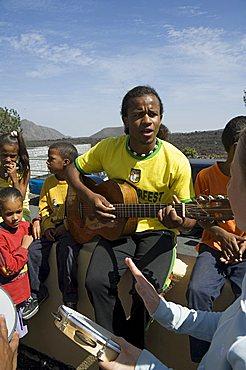 Musical event at local school in the volcanic caldera, Fogo (Fire), Cape Verde Islands, Africa