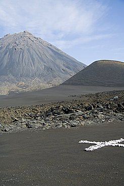 White cross is a marker to check for land movement within the caldera, with the Pico de Fogo volcano in the background, Fogo (Fire), Cape Verde Islands, Africa