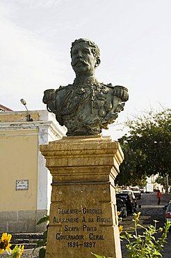 Bust of former governor general, Sao Filipe, Fogo (Fire), Cape Verde Islands, Africa