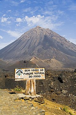 Pico de Fogo volcano in the background, Fogo (Fire), Cape Verde Islands, Africa