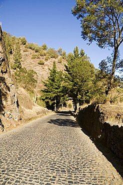 Cobblestone road on way to Ribiera Grande from Porto Novo, Santo Antao, Cape Verde Islands, Africa