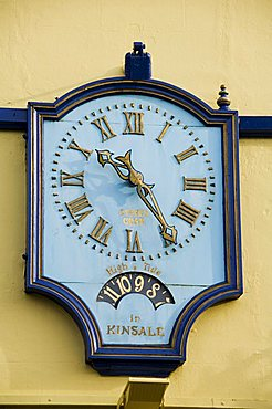 Famous clock on the Blue Haven Hotel, Kinsale, County Cork, Munster, Republic of Ireland, Europe