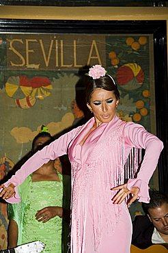 Flamenco dancer at El Arenal Restaurant, El Arenal district, Seville, Andalusia, Spain, Europe