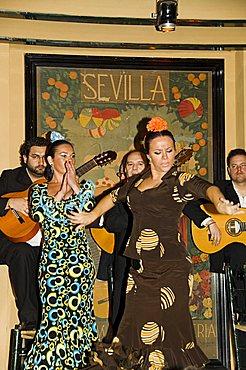 Flamenco dancers at El Arenal Restaurant, El Arenal district, Seville, Andalusia, Spain, Europe