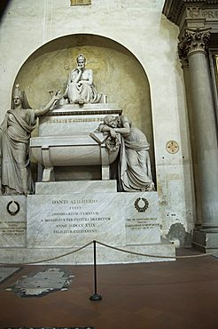 Tomb of Dante, Santa Croce church, Florence (Firenze), UNESCO World Heritage Site, Tuscany, Italy, Europe
