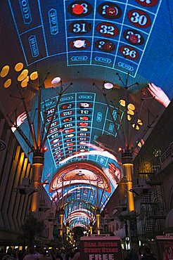 Fremont Street Light and Sound Show Experience, Fremont Street, the older part of Las Vegas, at night, Las Vegas, Nevada, United States of America, North America