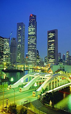 Elgin Bridge and skyline of the financial district, Singapore