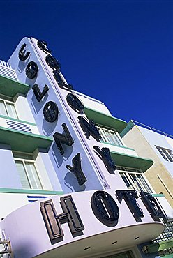 Low angle view of the neon sign of the Colony Hotel, Ocean Drive, Art Deco District, Miami Beach, South Beach, Miami, Florida, United States of America, North America