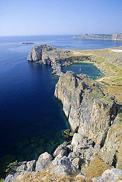 St. Pauls Bay (Ormiskos), Lindos, Rhodes, Dodecanese Islands, Greece, Europe