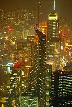 Aerial view of Hong Kong skyscrapers at night, China