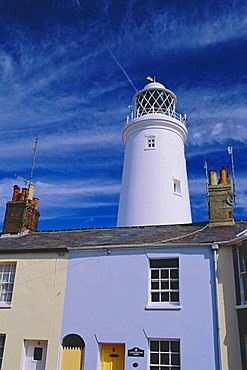 The Lighthouse and houses, Southwold, Suffolk, England, UK