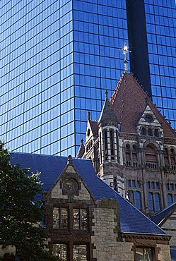 Architectural contrasts, Trinity Church in foreground, and John Hancock Tower behind, Boston, Massachusetts, New England, United States of America (USA), North America