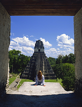 View of Grand Plaza from temple, Tikal, UNESCO World Heritage Site, Guatemala, Central America