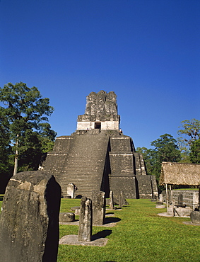 The grand plaza at the Mayan archaeological site of Tikal, UNESCO World Heritage Site, Guatemala, Central America
