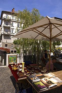 Open air market by the river Ljubljanica, Ljubljana, Slovenia, Europe