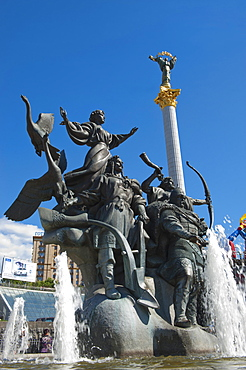 Monument to the founders of Kiev, Independence Square, Kiev, Ukraine, Europe