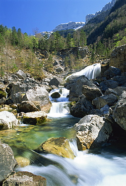 Stream flowing over rocks, with trees and mountains in the background in the Parque Nacional de Ordesa, Pyrenees, Aragon, Spain, Europe