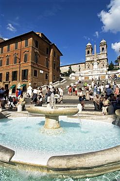 Barcaccia fountain, Piazza di Spagna, Rome, Lazio, Italy, Europe