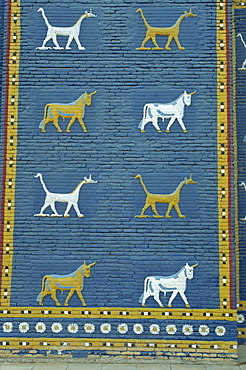 Close-up of Bull of Adad and other symbols on the Ishtar Gate, Babylon, Mesopotamia, Iraq, Middle East