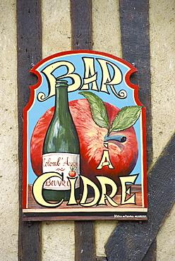 Cider bar sign, Beuvron en Auge, Auge, Normandy, France, Europe