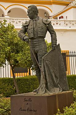 Statue of famous torrero Curro Romero in front of Plaza de Toros, La Maestranza, Seville, Andalucia, Spain, Europe