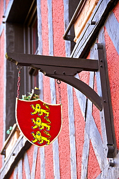 Emblem of Normandy, on a typical Norman house, Honfleur, Calvados, France, Europe