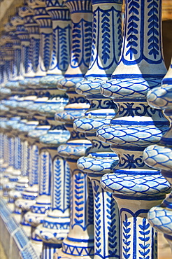 Ceramic decor columns, Plaza de Espana, Seville, Andalusia, Spain, Europe