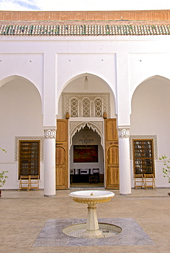 Indoor patio with fountain, Storks' House, Dar Bellarj, built in 1930, Arts and Crafts Centre, Art foundation, Medina, Marrakech, Morocco, North Africa, Africa