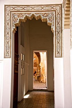Archway, engraved plaster, Storks' House, Dar Bellarj, built in 1930, Arts and Crafts Centre, Art foundation, Medina, Marrakech, Morocco, North Africa, Africa