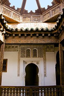 Outdoor Gallery, Medersa Ben Youssef dating from 1565, Medina, UNESCO World Heritage Site, Marrakech, Morocco, North Africa, Africa