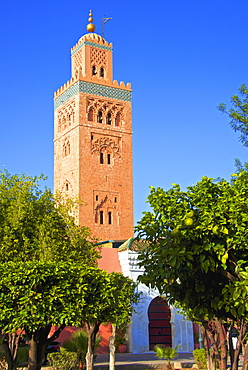 Minaret, Koutoubia Mosque dating from 1147, UNESCO World Heritage Site, Marrakech, Morocco, North Africa, Africa