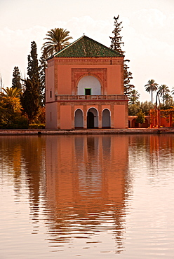 Water Basin dating from the 12th century Almohade period and Pavilion, Menara Gardens, Marrakech, Morocco, North Africa, Africa