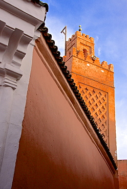 Detail of entrance of Khosta Mosque, and minaret, Medina, Marrakech, Morocco, North Africa, Africa