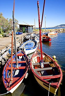 Fishing cabin and ancient fishing boats, Etang de Thau Museum, Bouzigues, Thau basin, Herault, Languedoc, France, Europe