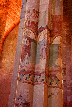 Paintings on nave and columns, St. Julian Basilica (St. Julien Basilica) dating from the 9th century, Romanesque architecture, Brioude, Haute Loire, France, Europe