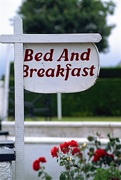 Bed and Breakfast sign, Trossachs, Scotland, United Kingdom, Europe