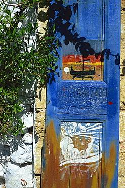 Painted shutter, Chania Old Town, Crete, Greek Islands, Greece, Europe