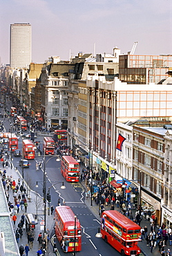 Birds eye view of Oxford Street looking east to Centre Point, London, England, United Kingdom, Europe
