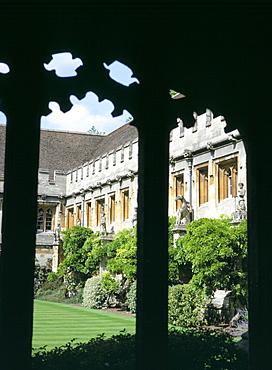 Cloister Quadrangle detail, Magdalen College, Oxford, Oxfordshire, England, United Kingdom, Europe