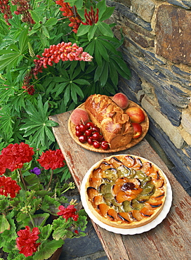High angle view of still life of brioche and fruit tart patisserie outside in a garden with geraniums and lupins, France, Europe