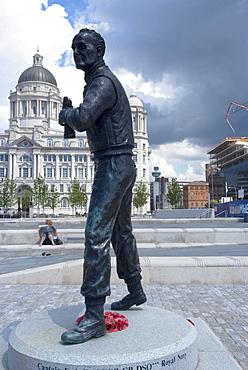 Statue by Tom Murphy, of Captain Frederick John Walker, noted World War II British Royal Navy officer, anti-submarine warfare commander and namesake for the whisky, near Albert Dock, Liverpool, Merseyside, England, United Kingdom, Europe