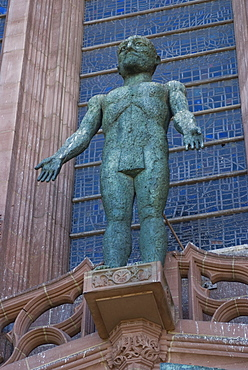 Statue in front of the entrance to Liverpool Anglican Cathedral, Liverpool, Merseyside, England, United Kingdom, Europe