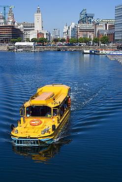 Liverpool Duck, the amphibious tour vehicle, near Albert Dock, Liverpool, Merseyside, England, United Kingdom, Europe