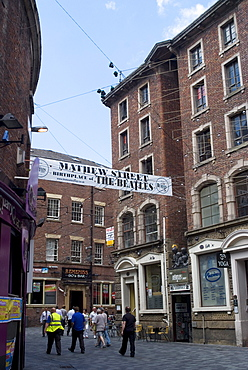 Matthew Street, site of the original Cavern Club where the Beatles first played, Liverpool, Merseyside, England, United Kingdom, Europe
