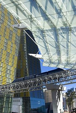 Monorail going through City Center, Las Vegas, Nevada, United States of America, North America