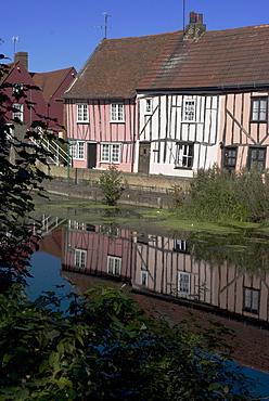 Elizabethan houses along the  River Colne, Colchester, Essex, England, United Kingdom, Europe