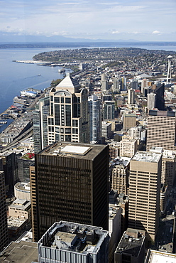 Aerial view of Seattle with the Space Needle from the Skyview Observatory, Washington, United States of America