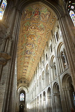 Interior of Ely Cathedral, looking towards its nave and painted ceiling, Ely, Cambridgeshire, England, United Kingdom, Europe