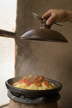 Tagine, typical Moroccan food and pot, Cafe Atlas, Imlil, High Atlas Mountains, Morocco, North Africa, Africa
